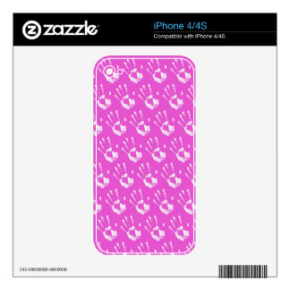 Pink background with handprint skins for iPhone 4