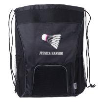 Pink badminton shuttle sports custom name bag