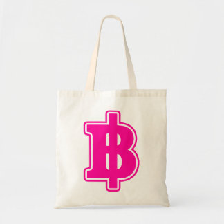 PINK BAHT SIGN ฿ Thai Money Currency ฿ Canvas Bags