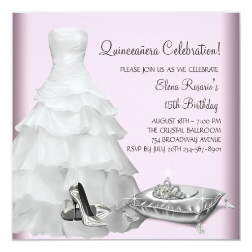 """Pink Ball Gown High Heel Shoes Pink Quinceanera 5.25"""" Square Invitation Card"""