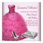 Pink Ball Gown High Heel Shoes Pink Quinceanera Personalized Announcements