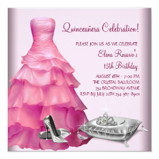 Pink Ball Gown High Heel Shoes Pink Quinceanera Invitation