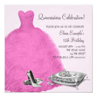 Pink Ball Gown High Heel Shoes Pink Quinceanera Announcements