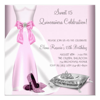 Pink Ball Gown High Heel Shoes Quinceanera Card