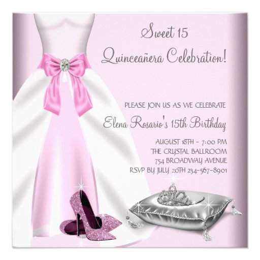 Pink Ball Gown High Heel Shoes Quinceanera 5.25x5.25 Square Paper Invitation Card | Zazzle