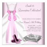 """Pink Ball Gown High Heel Shoes Quinceanera 5.25"""" Square Invitation Card"""