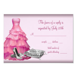 Pink Ball Gown High Heel Shoes Quinceanera RSVP 3.5x5 Paper Invitation Card