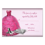 """Pink Ball Gown High Heel Shoes Quinceanera RSVP 3.5"""" X 5"""" Invitation Card"""