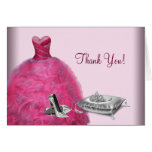 Pink Ball Gown High Heels Tiara Thank You Cards