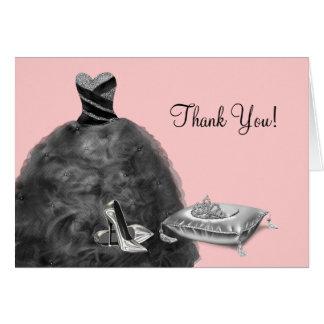 Pink Ball Gown High Heels Tiara Thank You Cards