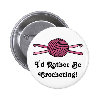 Pink Ball of Yarn & Crochet Hooks 2 Inch Round Button
