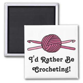 Pink Ball of Yarn & Crochet Hooks 2 Inch Square Magnet