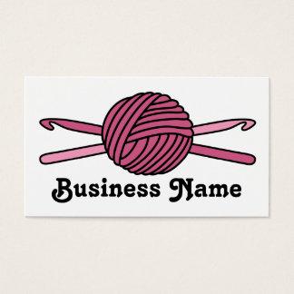 Pink Ball of Yarn & Crochet Hooks Business Card