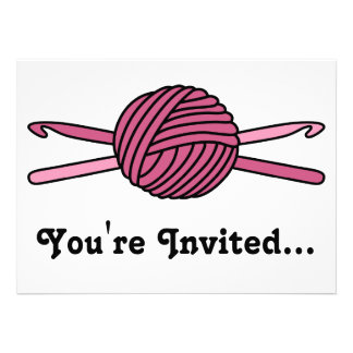 Pink Ball of Yarn & Crochet Hooks Personalized Invites