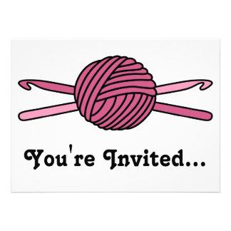 Pink Ball of Yarn & Crochet Hooks Personalized Invites