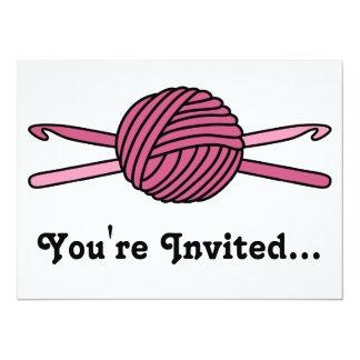 "Pink Ball of Yarn & Crochet Hooks 5.5"" X 7.5"" Invitation Card"