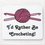 Pink Ball of Yarn & Crochet Hooks Mousepad