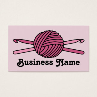 Pink Ball of Yarn & Crochet Hooks (Pink Back) Business Card