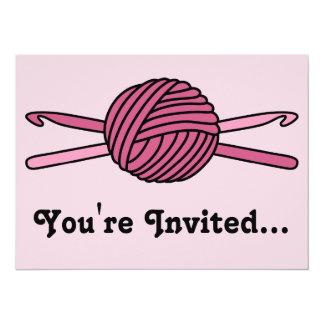 "Pink Ball of Yarn & Crochet Hooks (Pink Back) 5.5"" X 7.5"" Invitation Card"