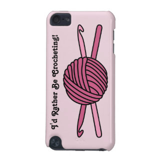 Pink Ball of Yarn & Crochet Hooks (Pink Back) iPod Touch (5th Generation) Cover