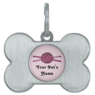 Pink Ball of Yarn & Crochet Hooks (Pink Back) Pet Name Tags