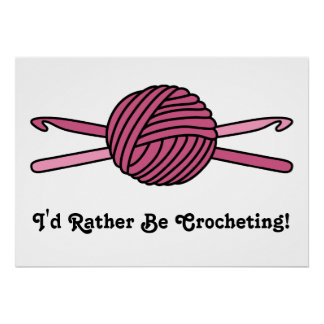 Pink Ball of Yarn & Crochet Hooks Posters
