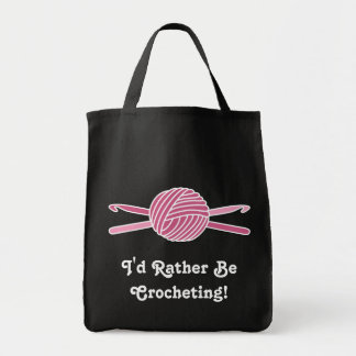 Pink Ball of Yarn & Crochet Hooks Tote Bag
