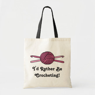 Pink Ball of Yarn & Crochet Hooks Tote Bag