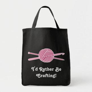 Pink Ball of Yarn (Knit & Crochet) Canvas Bags