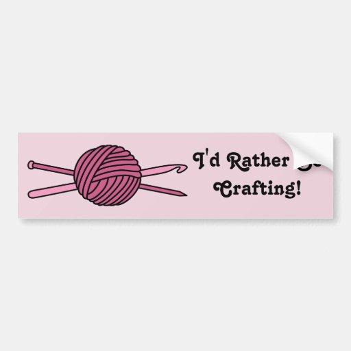 Pink Ball of Yarn (Knit & Crochet) Bumper Stickers