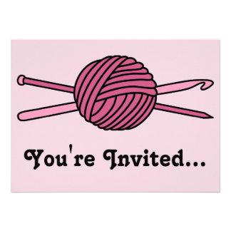 Pink Ball of Yarn (Knit & Crochet) Invitations