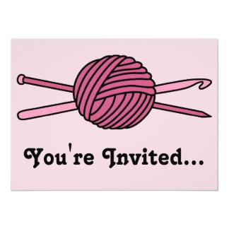 "Pink Ball of Yarn (Knit & Crochet) 5.5"" X 7.5"" Invitation Card"