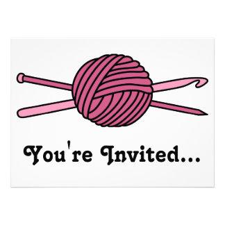 Pink Ball of Yarn (Knit & Crochet) Custom Invitation