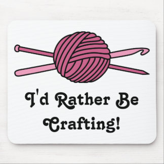 Pink Ball of Yarn (Knit & Crochet) Mouse Pad