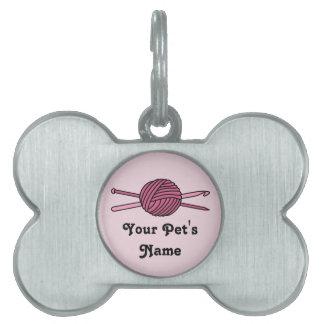 Pink Ball of Yarn (Knit & Crochet) Pet Name Tags