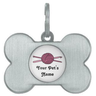 Pink Ball of Yarn (Knit & Crochet) Pet Tag