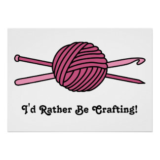 Pink Ball of Yarn (Knit & Crochet) Posters