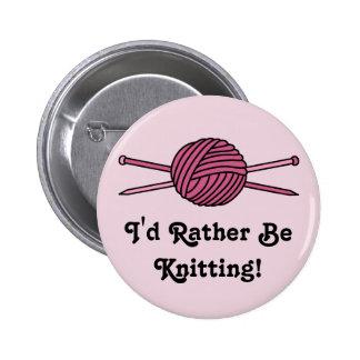 Pink Ball of Yarn & Knitting Needles Button