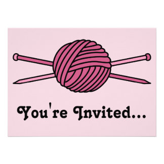 Pink Ball of Yarn & Knitting Needles Personalized Invite
