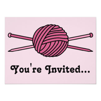 Pink Ball of Yarn & Knitting Needles 5.5x7.5 Paper Invitation Card