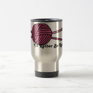 Pink Ball of Yarn & Knitting Needles 15 Oz Stainless Steel Travel Mug