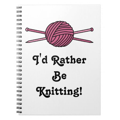 Pink Ball of Yarn & Knitting Needles Notebook