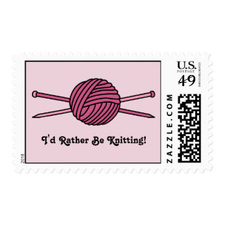 Pink Ball of Yarn & Knitting Needles Postage