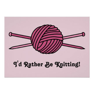 Pink Ball of Yarn & Knitting Needles Posters
