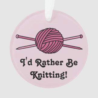Pink Ball of Yarn & Knitting Needles (Version 2) Ornament