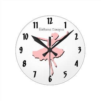 Pink Ballarina Wall Clock