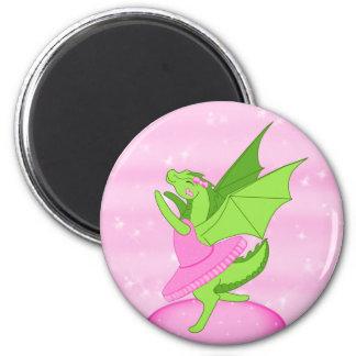 Pink Ballerina 2 Inch Round Magnet