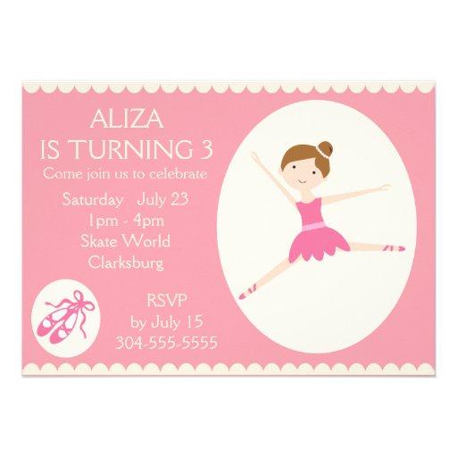 Pink Ballerina Birthday Party 5x7 Paper Invitation Card