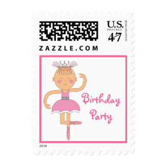 Pink Ballerina Birthday Party Postage