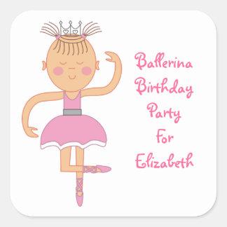 Pink Ballerina Birthday Party Stickers
